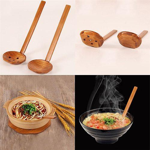 Long Handle Wooden SpoonJapanese Style Kitchen Colander Long Handle Utensils Ramen Soup Spoons Tableware Kitchen Utensil Tools