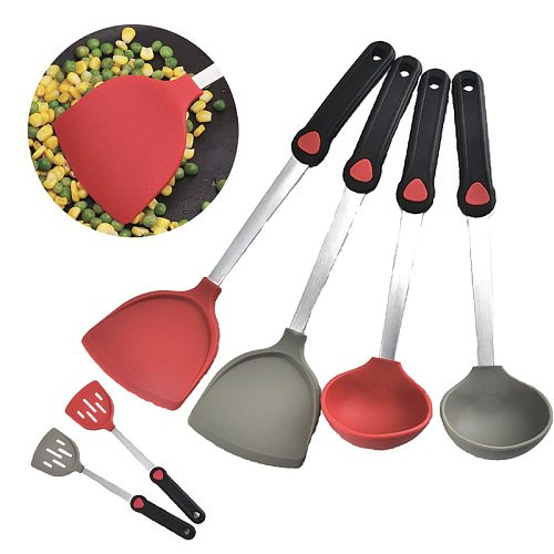 Easy Clean Heat Resistant Rubber Kitchen Spatula Flexible Silicone Turner Spatula for Eggs Burgers Omelets and More