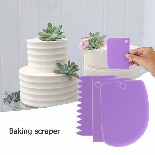 3pcs/set Plastic Dough Knife Baking Pastry Tools Icing Fondant Scraper Decorating Plain Smooth Spatulas Cutters Cake Tool
