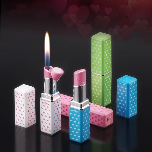 Girl Fashion Lipstick  Gadgets for Men Opne Fmale Lighter Butane Gas Metal Lighter Portable Inflatable Smoking Accessories