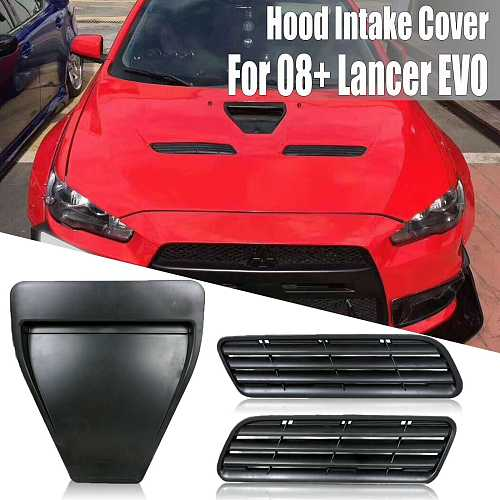 Car-Styling ABS Hood Vents Bonnet Hood Scoop Intake Vent Cover Trim For Mitsubishi Lancer GTS EVO 10 X GSR 08-15 Style Hood Vent