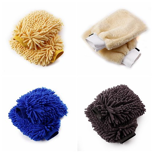 2PCS Double Sided Microfiber Washing Hand Gloves Car Window Dust Cleaning Glove Household Cleaning Towel Kitchen Car Accessories