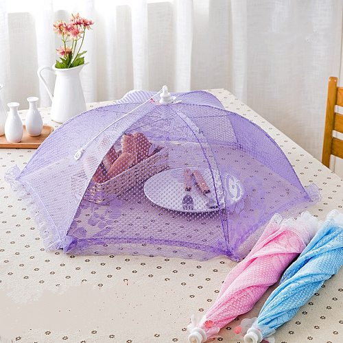 Convenient and useful food covers umbrella style anti fly mosquito meal cover table mesh food cover Kitchen cooking tools.