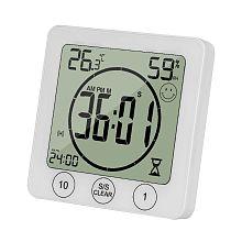 LCD Bathroom Wall Clock Temperature Humidity Countdown Waterproof Shower Timer