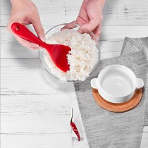 Kitchen Accessories high quality Silicone Solid Color Heat-resistant Non-stick Rice Spoon Long-handled  Cooking Tools Food Grade
