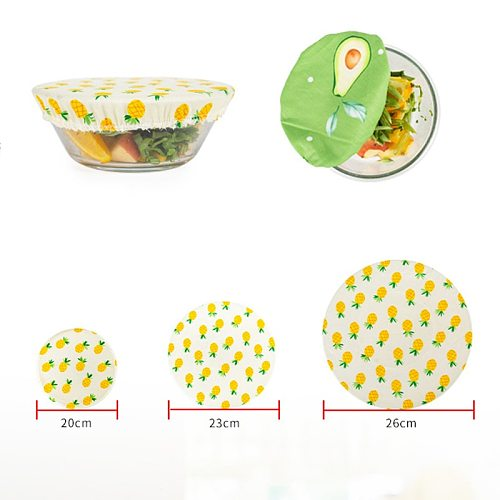 3Pcs Reusable Silicone Wrap Seal Food Fresh Keeping Wrap Lid Cover Stretch Vacuum Food Wrap Beeswax Cloth Sealer Kitchen Tools
