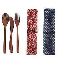 Portable Wood Tableware Wooden Cutlery Sets Travel Utensils Biodegradable Wooden Dinnerware Flatware Zero Waste Tableware Set