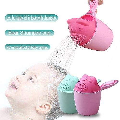 Baby Shampoo Cup Cute Cartoon Showers Scoop Plastic Water Spoon Wash Hair Bath Watering Bottle Toddler Kids Bath Tool