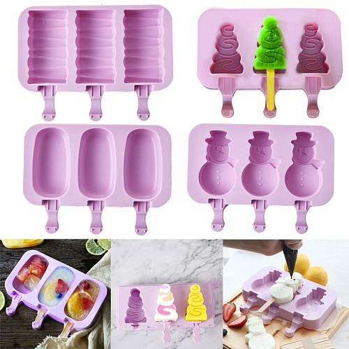 Silicone Ice Cream Mold Reusable Ice Cubes Tray Freeze Popsicle Mold Ice Cube Maker Ice Cream Mould Tool With 50 Wood Sticks