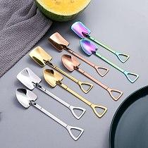 Stainless Steel Dessert Spoon Shovel Shape Spoon For Ice Cream Coffee Creative Tea-Spoon Kitchen Gadget Kitchen Bar Utensils New