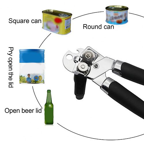 Multifunction Can Opener Manual Handheld Stainless Steel with Non-Slip Handle Bottle Opener for Home Kitchen Tools Gadgets