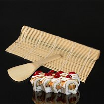 1Pcs Sushi Curtain Rolling Mat Sushi Spoon DIY Onigiri Rice Roller Kitchen Gadgets Cooking Accessories  Bamboo Sushi Maker Tools