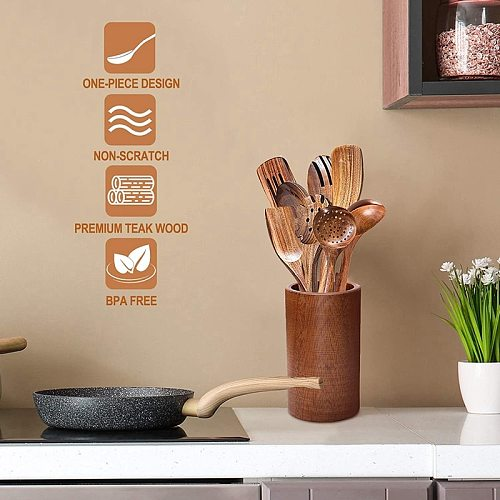Wooden Spoons for Cooking Wooden Cooking Utensils Set with Wood Holder Non-Stick Pan Kitchen Tool Wooden Cooking Spoon