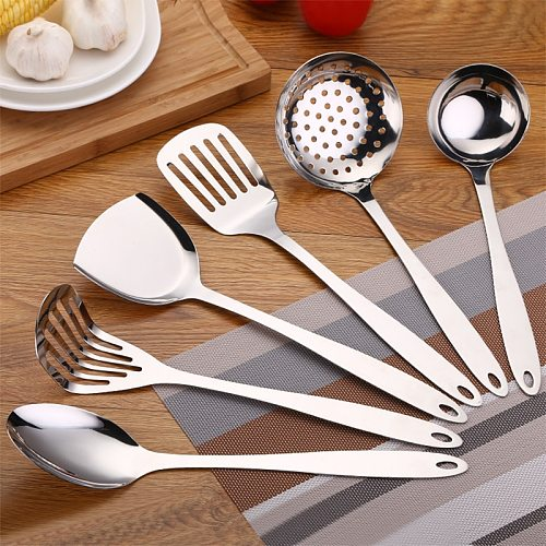 Set of 6pcs with Holder High Quality Stainless Steel Kitchen Utensils Slotted Ladle Turner Spatula Set