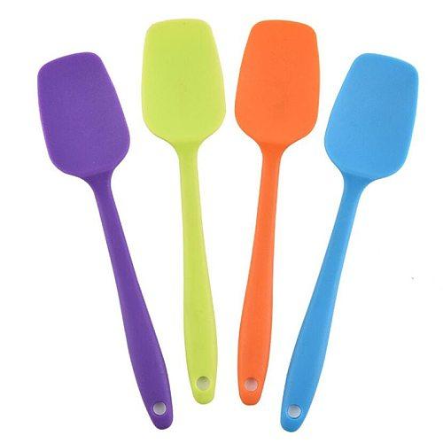 21CM Hot Universal Heat Resistant Integrate Handle Silicone Spoon Scraper Spatula Ice Cream Cake Kitchen Tool Utensil