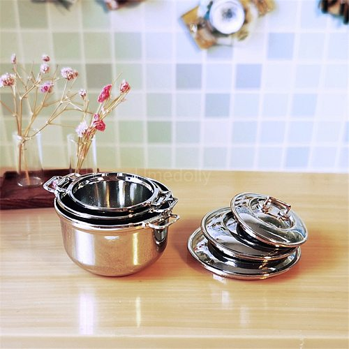 1PCS 1/6 1/12 Scale Dollhouse Miniature Mini Metal Pot Pretend Play Kids Kithcen Cooking Utensil Accessories Toy