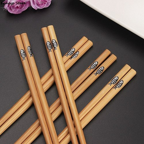 Japanese Chopsticks Set Kawai Maid Scales Fish Wooden Chopsticks Bento Tool Eco-friendly Recyclable Bamboo Chopsticks Wood Japan