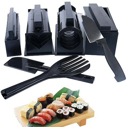 New 10Pcs/set Easy To Use DIY Sushi Maker Rice Mold Kitchen Sushi Making Tool Set For Sushi Roll Kitchen Cooking Gadget