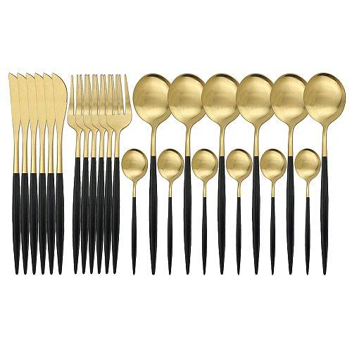 24Pcs White Gold Matte Dinnerware Set Stainless Steel Knife Fork Spoon Silverware Cutlery Set Kitchen Flatware Tableware Set