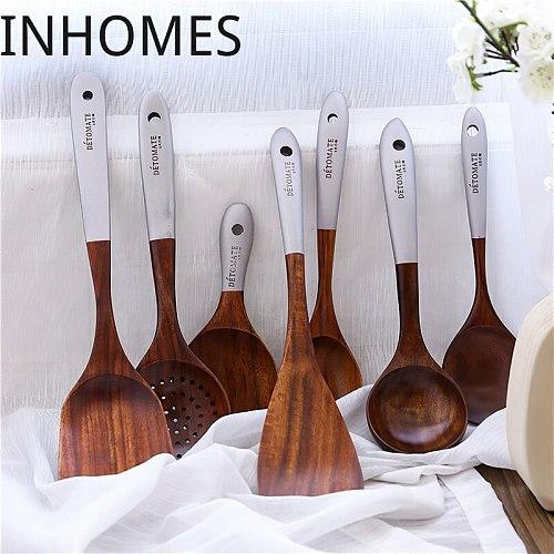 Eco-friendly Wood Cooking Utensils Tool Teak Wooden Rice Scoop Spatula Utensil Set Tableware For Kitchen Accessories