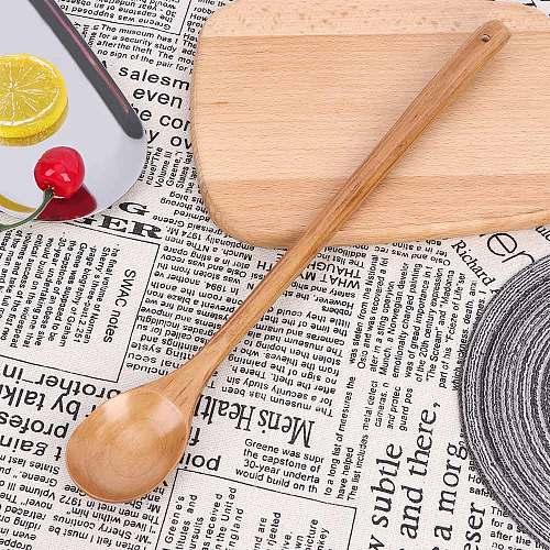 Wooden Spoons Large Long Handled Spoon Kids Spoon Wood Rice Soup Dessert Spoon Coffee Tea Mixing Tableware