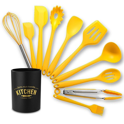 10PCS Food Grade Yellow Cooking Utensils Set Heat Resistant Non-Stick Cooking Utensils With Storage Box Silicone Kitchenware