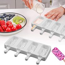 New Silicone Ice Cream Molds 4 Cell Ice Cube Tray Popsicle mold Maker DIY Homemade Ice Lolly Mould Home Kitchen tools