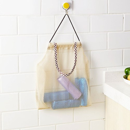 Fruit Vegetable Garlic Onion Hanging Storage Bag Breathable Reusable Mesh Bags Organizer Home Kitchen Accessories