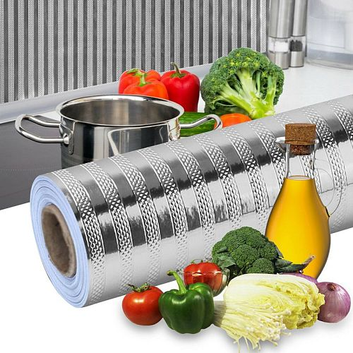 Kitchen Oil-proof Stickers Heat-resistant Waterproof Self-adhesive Wall Stickers Cabinet Stickers Wallpaper Aluminum Foil Paper