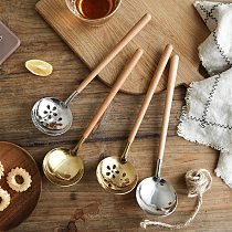 Japanese Wooden Handle Anti-hot Soup Stainless Steel Soup Leakage Ramen Spoon Home Kitchen Gadget