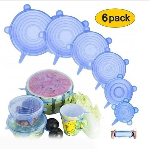 6pcs Silicone Stretch Lids Food Cover Universal Bowl Pot Lid Food Fresh Keeping Wrap Cover Caps Kitchen Stretchable Magic Lid