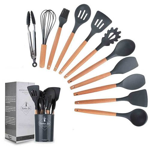 Silicone Kitchen Cooking Utensils Non-stick Heat Resistant Kitchenware Spatula Shovel Wooden Handle Cooking Tools Baking Tools
