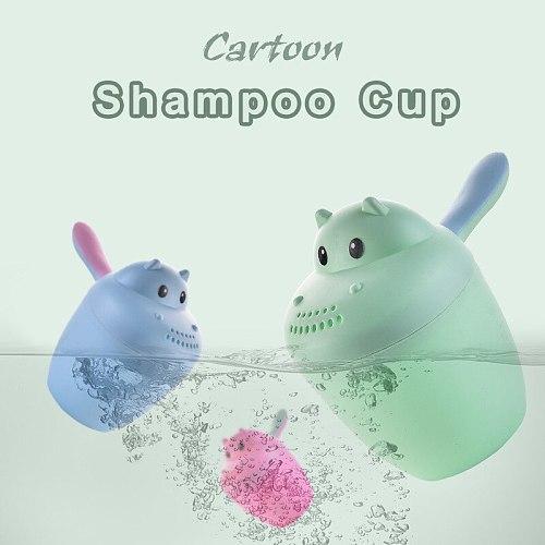 Cartoon Bear Plastic Water Scoop for Baby Bath Washing Hair Baby Shower Cap Bebe Bath Shampoo Toys Baby Bath Stuff Accessories