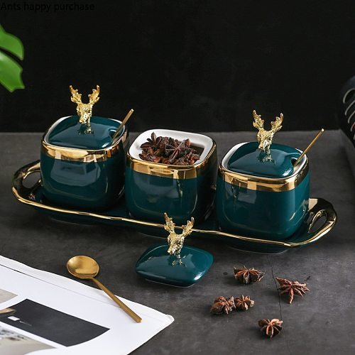Kitchen Green Spice Jar Combination Seasoning Jar European Ceramics Household MSG Salt Sugar Deer Head Storage Tank with Spoon