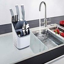 Bench top spoon holder knife stand holder kitchen knife stainless steel kitchen knife holder stand block kitchen accessories