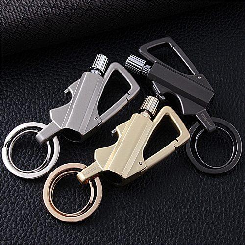 Outdoor Instant Match Metal Carabiner Bottle Opener Keychain Flint Fire Starter Permanent Waterproof Gasoline Lighter