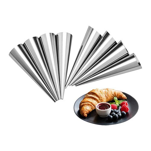 15 Pcs Lady Lock Forms,4.8Inch Stainless Steel Pastry Cream Horn Molds & 3 Pcs Offset Spatula Set
