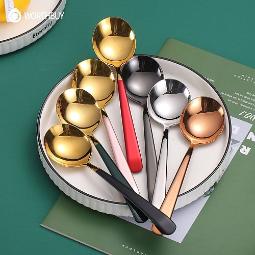 WORTHBUY Colorful Soup Spoon 304 Stainless Steel Dinner Spoon With Long Handle Dessert Spoon For Kitchen Tableware Coffee Scoop