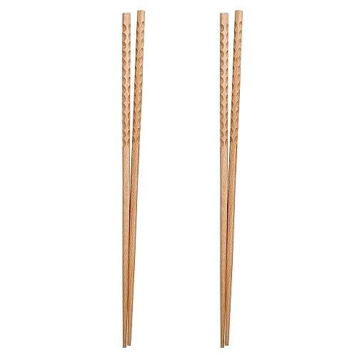 2 Pairs Wood Lengthen Chopsticks Multifunction Frying Noodle Chafing Dish Chopsticks Hot Pot Flatware for Home Restaurant (42cm)