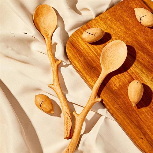 Japanese Style Beech Spoons Branch Shape Long Handle Scoop Coffee Stirring Spoon Tableware