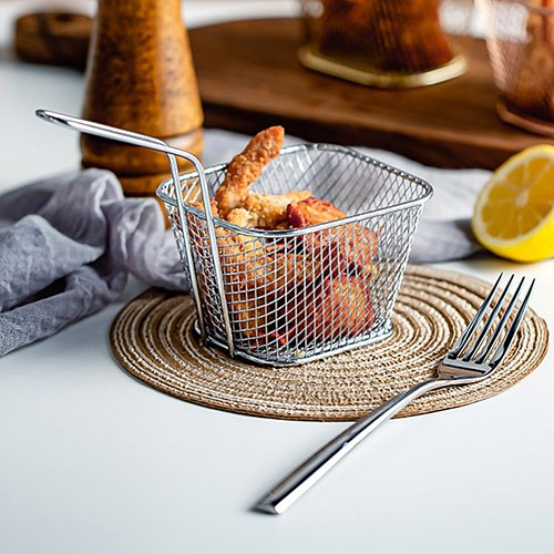 Mini French Deep Fryers Basket Net Mesh Fries Chip Kitchen Tool Stainless Steel Fryer Home Cooking French Fries Baskets Strainer