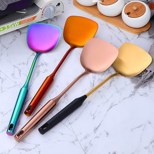 1/2PC Kitchenware Stainless Steel Spatula Ladle Spoon Set Gold Ladle Spoon Cooking Tool Resuable Kitchen Spatula Turner Utensils