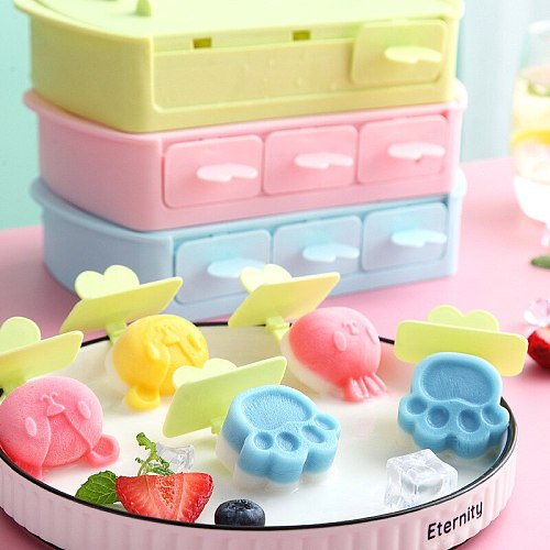 Foodgrade Silicone Popsicle Mold Kids DIY Cartoon Rabbit Ice Cream Mold Reusable BPA-Free Ice Pop Mold With Lids and Sticks