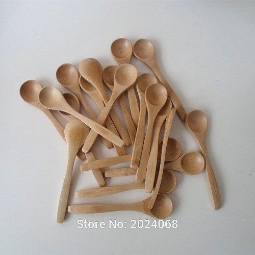 10Pcs/Set 5.1inch Wooden Spoon Ecofriendly Tableware Bamboo Scoop Coffee Honey Tea Spoon Stirrer YU-Home
