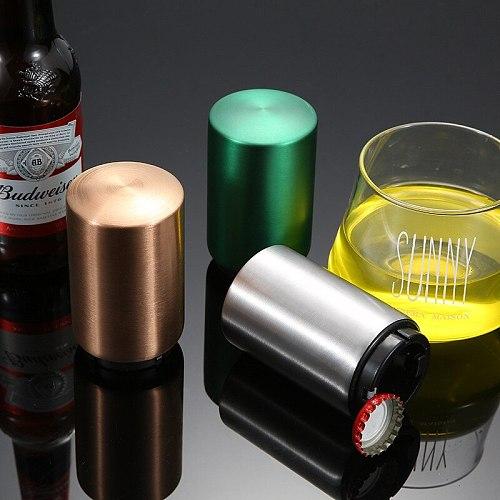 Automatic Beer Bottle Opener Magnet Beer Opener Stainless Steel Push Down Opener Wine Beer Soda Cap Opener Kitchen Accessories