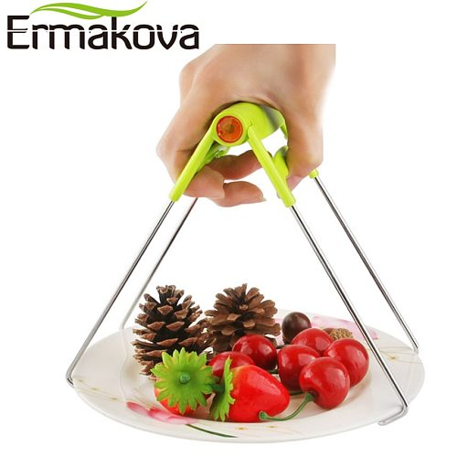 ERMAKOVA Stainless Steel Foldable Hot Dish Clamp Anti-Scald Bowl Clip Plate Pot Gripper Kitchen Utensil Holder Kitchen Tool