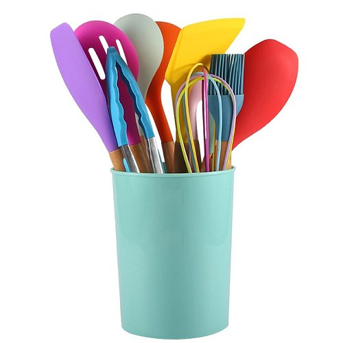 Colorful Kitchen Silicone Cooking Utensil Set Non Stick Spatula Wooden Handle D0LD