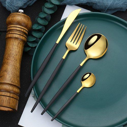 Mirror Black Gold Stainless Steel Cutlery Set Christmas Tableware Dinnerware Set Coffee Ice Dessert Tea Spoons with Long Handle