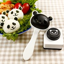 2Pcs/Set Panda Sushi Mould Cartoon Cute Rice Ball Mold Kit Seaweed Embossing Cutter Moulds For Kitchen Cooking DIY Sushi Molds