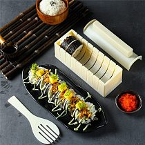 10Pcs/Set DIY Sushi Maker Kit Kitchen Sushi Tool Making Machine Roller Rice Mold Sushi Vegetable Meat Rolling Gadgets
